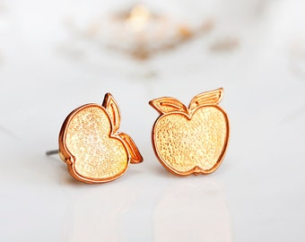 Copper Apple Earrings Summer Sunshine Orange Apple Ear Studs Apple Ear Posts Apple Fruit Stud Earrings Summer Jewelry - E157