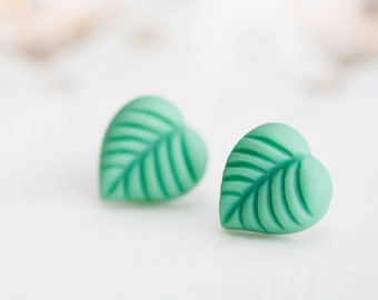 Spring Green Leaf Earring Studs Jungle Green Leaves Stud Earrings Aquamarine Mint Leaf Ear Studs Pastel - E153