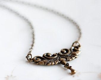 Art Deco Pendant Necklace Vintage Inspired Floral Gothic Necklace Art Nouveau Jewelry - N195
