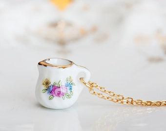 Porcelain Miniature Necklace Cream Pitcher Tea Set Pastel Floral Tea Party Porcelain Jewelry - N197