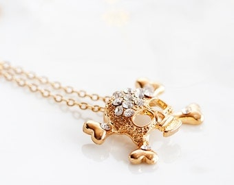 Crystal Skull Necklace Gold Skull Charm Necklace Halloween Skull Jewelry Crossbones Gothic Skull Jewellery - N199