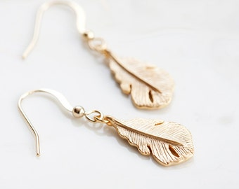 Feather Charm Earrings Gold Feather Dangle Earrings Delicate Feather Earrings Simple Feather Jewelry - E164