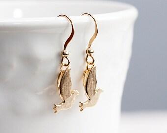 Gold Dove Earrings Peace Bird Dangle Earrings Dove Charms Bird Earrings Flying Bird Jewelry - E169