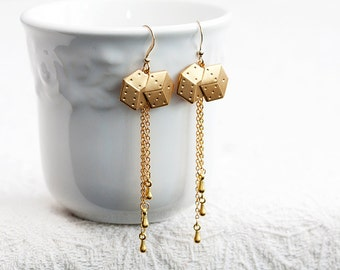 Long Chain Dice Earrings Brass Dice Charm Dangle Chain Earrings Modern Chic Earrings Fun Dice Jewelry - E180