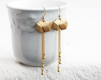 Long Chain Dice Earrings Brass Dice Charm Dangle Chain Earrings Modern Chic Earrings Fun Dice Jewelry - E180