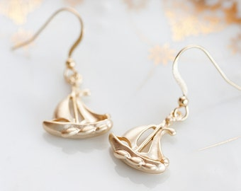 Gold Boat Earrings Sail Boat Charms Nautical Sailboat Dangle Earrings Sailing Earrings Nautical Jewelry - E182