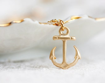 Gold Anchor Necklace Gold Filled Chain Nautical Anchor Charm Pirate Anchor Nautical Necklace Beach Jewelry - N215
