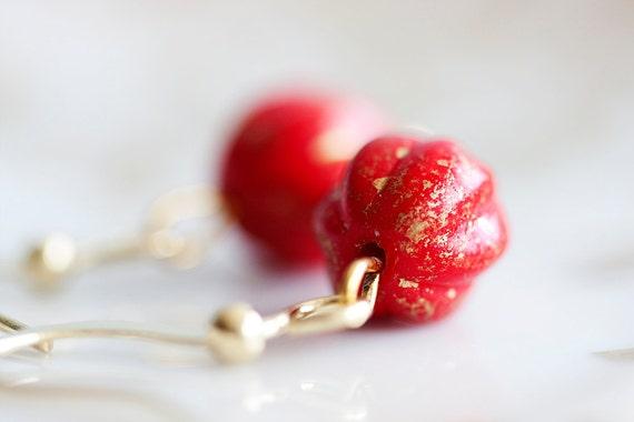 Red Pumpkin Earrings Christmas Pumpkin Bead Gold Earrings Red Earrings - E033