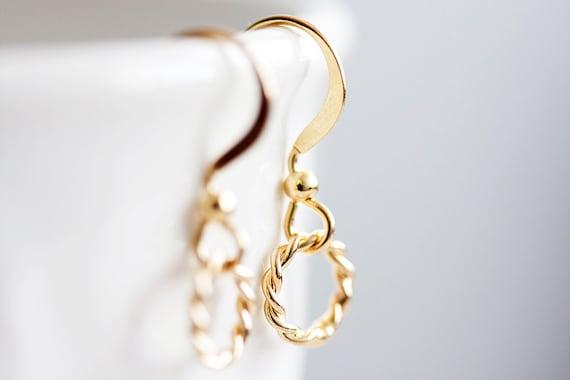 Tiny Circle Earrings Little Ring Earrings Simple Gold Earrings - E036