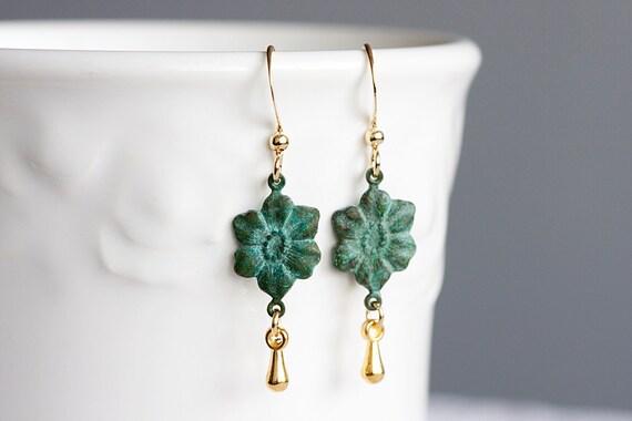 Patina Flower Earrings Gold Tear Drop Verdigris Floral Patina jewelry - E050