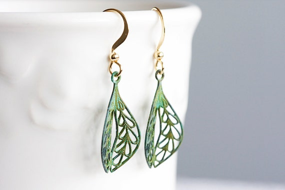 Verdigris Leaf Earrings Intricate Leaf Filigree Patina Earrings Green Earrings - E051