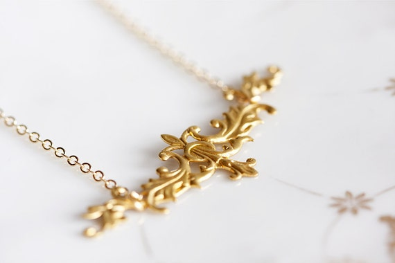 Gold Floral Necklace Art Deco Victorian Style - N091