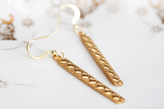 Long Drop Earrings Diamond Etched Drop Long Earrings Brass Long Bar Earrings - E062