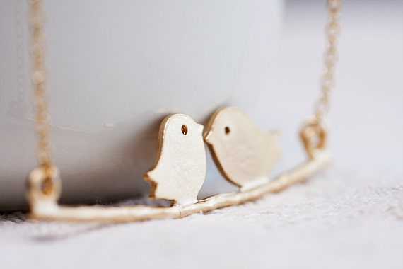 Love Birds Necklace Cute Little Birds on Branch Necklace - N131