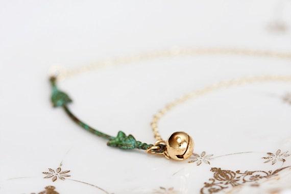 Floral Patina Necklace Tiny Bell Verdigris Fleur De Lis Jewelry - N136