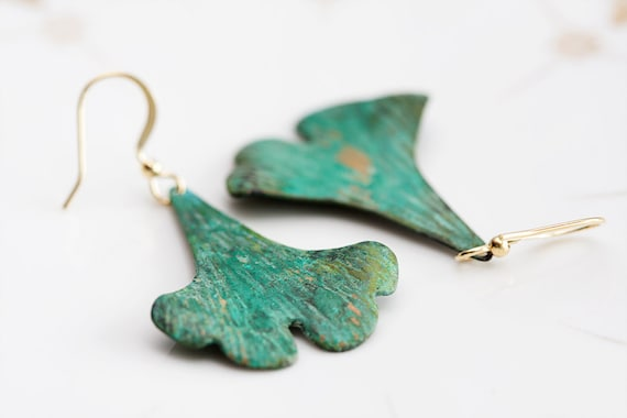 Green Ginkgo Leaf Earrings Verdigris Patina Ginkgo Earrings - E077