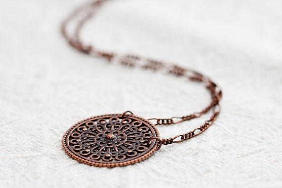 Round Pendant Copper Necklace Steampunk Necklace - N143