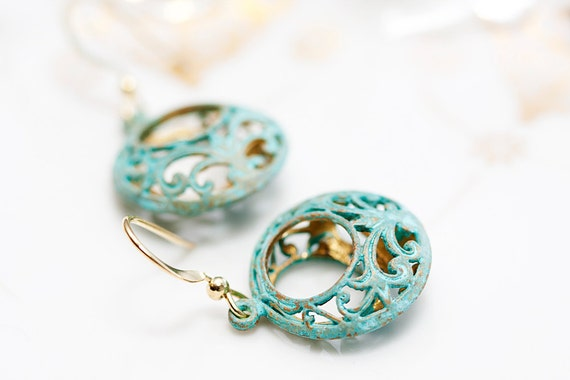 Patina Dangle Bohemian Earrings Pastel Verdigris Floral Pendant Shabby Chic Earrings Patina Filigree Earrings - E085