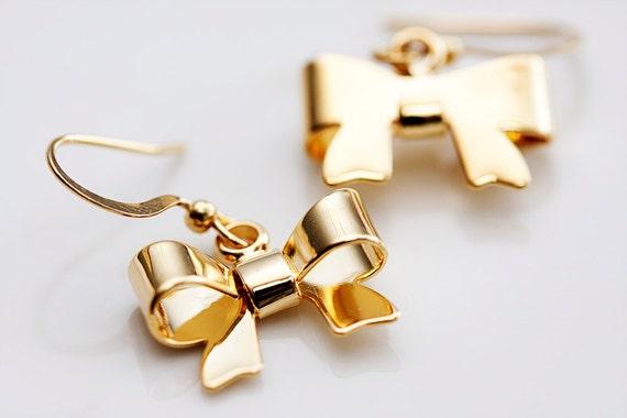 Gold Bow Earrings Sweet Bow Dangle Earrings Bow Tie Earrings Bow Jewelry - E089