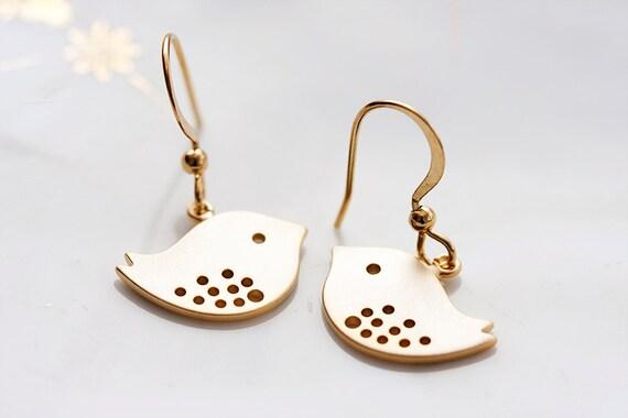 Gold Bird Earrings Little Sparrow Earrings Cute Swallow Earrings Love Bird Dangle Sweet Bird Jewelry - E105