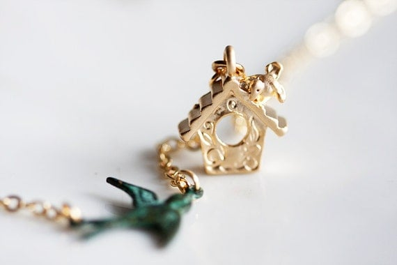 Vacation - Patina Swallow Birdcage Necklace Gold Bird House Verdigris Swallow Necklace - N154