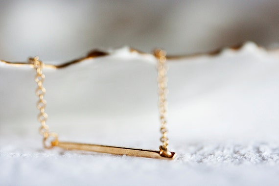 Gold Bar Necklace Gold Filled Chain Minimal Bar Stick Necklace Simple Modern Everyday Jewelry Minimalist Necklace - N170
