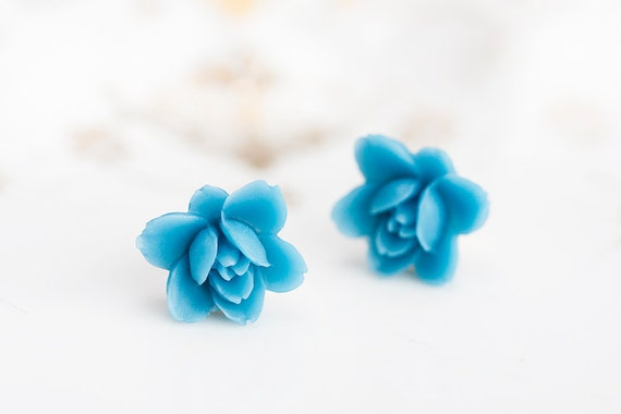 Blue Flower Stud Earrings Summer Blue Floral Ear Studs Deep Sky Blue Ear Posts Fresh Blue Beach Jewelry - E155