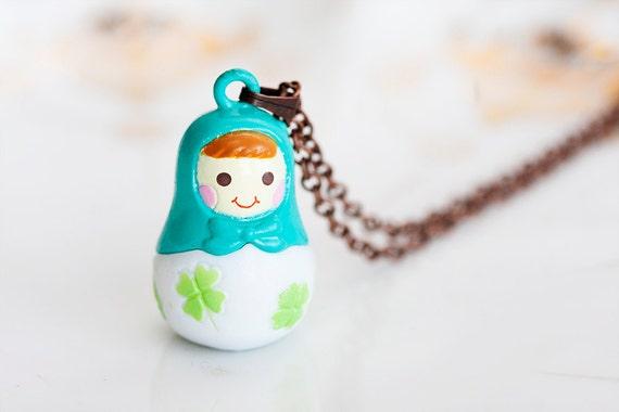 Russian Doll Necklace Russian Nesting Doll Miniature Matryoshka Doll Kawaii Babushka Doll Pendant - N182