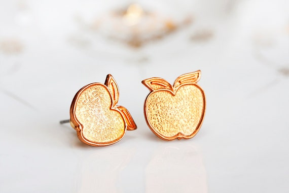 Copper Apple Earrings Summer Sunshine Orange Apple Ear Studs Apple Ear Posts Apple Fruit Stud Earrings Summer Jewelry - E157