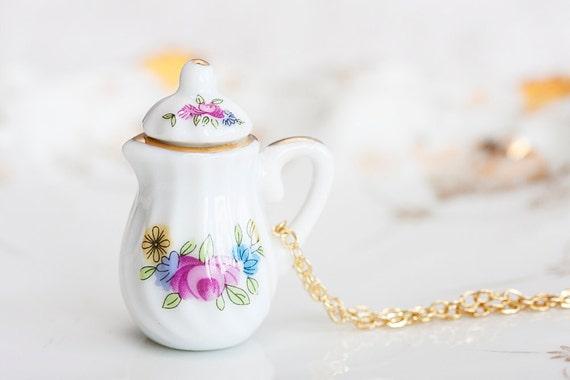 Miniature Teapot Necklace Pink Floral Porcelain Tea Set Jewelry Tea Party Necklace - N183