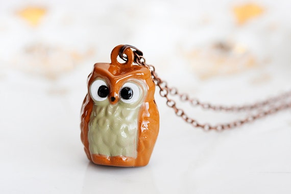 Little Owl Bell Necklace Woodland Owl Necklace Brown Owl Long Necklace Owl Pendant Owl Jewelry - N193