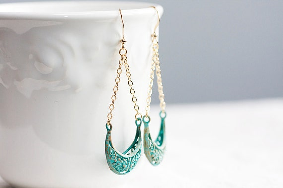 Floral Patina Dangle Earrings Pastel Verdigris Filigree Bohemian Earrings Turquoise Shabby Chic Jewelry - E163