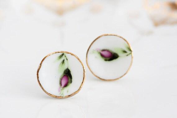 Flower Porcelain Stud Earrings Mother's Day Miniature Tea Set Floral Ear Posts Tea Party Pink Flower Ear Studs Porcelain Jewelry - E181