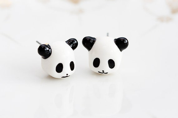Little Panda Stud Earrings Black and White Resin Panda Kawaii Ear Studs Cute Animal Ear Posts Panda Jewelry - E184