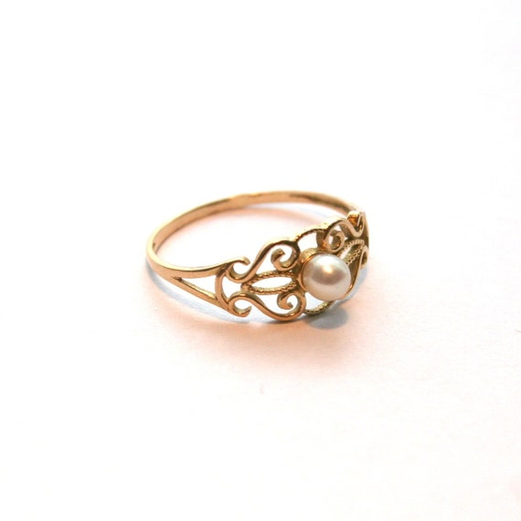 Vintage Gold Pearl Ring By RueBroc On Etsy