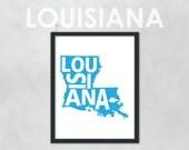 "Louisiana Typographic State Map - 8 x 10"" Print"