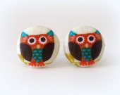 Owl earrings, fabric covered, posts