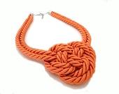 Orange Triple Knot Nautical Necklace