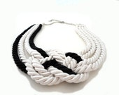 Black and White Summer Fashion  Nautical Sailor's Knot Rope Necklace