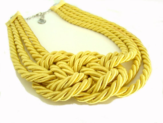 Bright Yellow Sailor's Knot Choker Necklace
