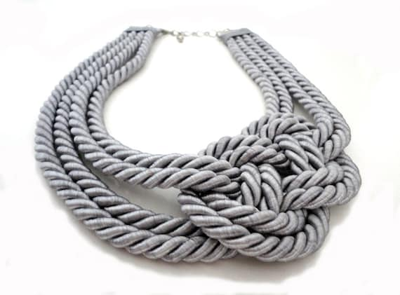 Silver Grey Nautical Rope Statement  Necklace