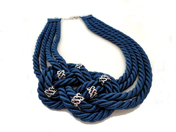 Navy Blue Nautical Sailor's Knot Necklace-made to order