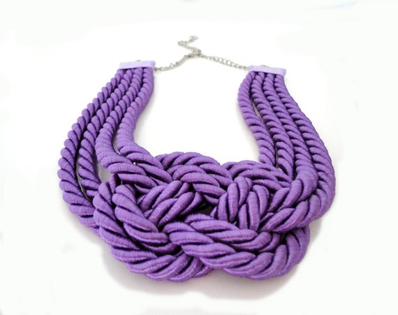 Purple Summer Fashion  Nautical Sailor's Knot Rope Necklace