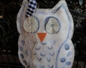 White Owl Burlap Door Hanger Door Decoration