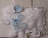 Baby Lamb Burlap Door Hanging with Blue  Ribbon