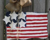Burlap USA Flag Red, White and Blue Burlap Door Hangers American Flag with Stars