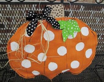 Orange Burlap Pumpkin Door Hanger Fall Burlap