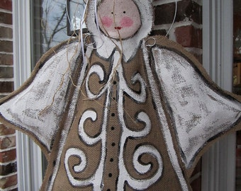 Christmas Angel Burlap Door Hanger