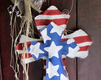 Burlap Cross Burlap Door Hanger Stars and Stripes