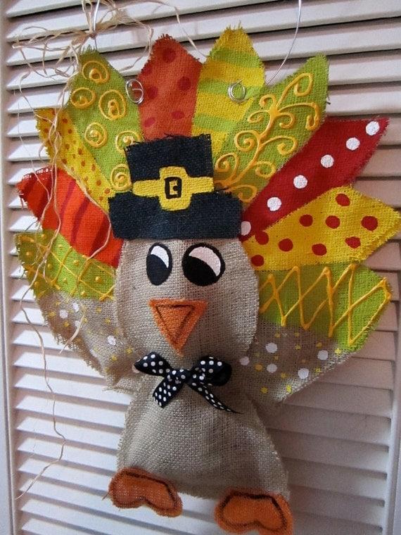 Thanksgiving Turkey Burlap Door Hanger Door Decoration